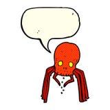 паук черепа шаржа пугающий с пузырем речи Стоковое фото RF