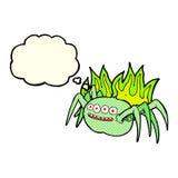 паук шаржа пугающий с пузырем мысли Стоковые Изображения