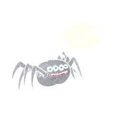 паук шаржа пугающий с пузырем мысли Стоковое Изображение