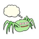 паук шаржа пугающий с пузырем мысли Стоковая Фотография RF