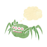 паук шаржа пугающий с пузырем мысли Стоковое Изображение RF