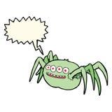паук шаржа пугающий с пузырем речи Стоковая Фотография