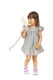 пахнуть орхидеи девушки маленький Стоковое Фото