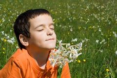 пахнуть цветков мальчика Стоковые Изображения