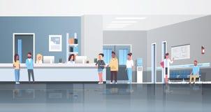 Пациенты гонки смешивания стоя линия очередь на концепции здравоохранения консультации докторов залы приемной больницы ждать иллюстрация вектора