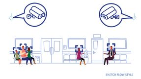 Пациенты ждать коридор больницы системы камеры слежения концепции опознавания cctv наблюдения залы клиники лицевой с иллюстрация вектора