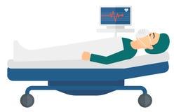 Пациент лежа в кровати с кардиомонитором иллюстрация вектора