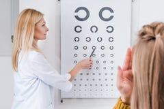 пациент и optician делая глаз испытывают с диаграммой глаза Стоковые Фотографии RF
