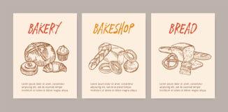 Пачка вертикальных шаблонов летчика или плаката с вкусными хлебами, сладким очень вкусным печеньем или домодельными испеченными п бесплатная иллюстрация