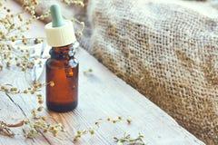 Пачка высушенных трав астрагона, бутылки масла и пипетки Стоковое Фото