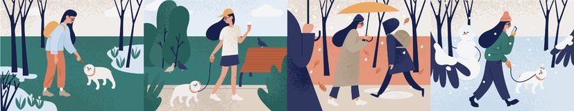 Пачка девушки идя самостоятельно или с ее собакой во время различных сезонов Установите молодой женщины осуществляя мероприятия н иллюстрация вектора