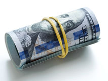 Пачка денег связанная с круглой резинкой Стоковая Фотография RF