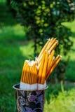 Пачка желтых ручек свечи Стоковое Изображение