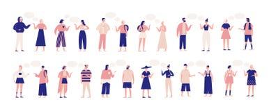 Пачка людей говоря или говоря друг к другу Собрание беседуя людей и женщин при пузыри речи изолированные дальше иллюстрация вектора