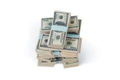 Пачка нас 100 долларов бумажных денег Стоковое Изображение