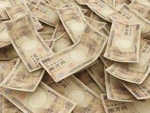 Пачка примечаний японских иен. Куча 10000 иен Стоковые Фото