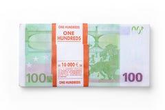 Пачка счетов евро на белой предпосылке стоковое изображение rf