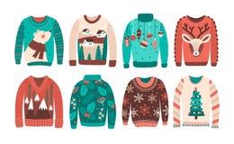 Пачка уродских свитеров или шлямбуров рождества изолированных на белой предпосылке Комплект сезонной связанной теплой одежды зимы бесплатная иллюстрация
