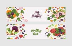 Пачка шаблонов знамени сети с очень вкусными салатами на плитах и ингредиентах Свежие полезные диетические еды Здорово иллюстрация вектора