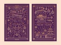 Пачка шаблоны приглашения поздравительной открытки вертикальный рождества и Нового Года, летчика, плаката или партии с желаниями  иллюстрация вектора