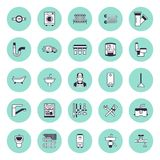 Паять линию значки вектора обслуживания плоскую Оборудование bathroom дома, faucet, туалет, трубопровод, стиральная машина, судом бесплатная иллюстрация