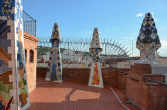 Палау Guell - крыша Стоковая Фотография
