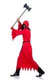 Палач в красном костюме с осью Стоковые Фотографии RF