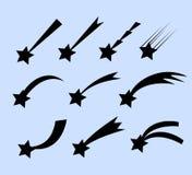 Падающие звезды vector комплект Звезды стрельбы изолированные от предпосылки Значки метеоритов и комет Стоковое фото RF