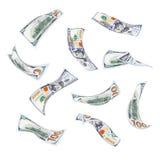 Падающ 100 счетов доллара Стоковые Фото