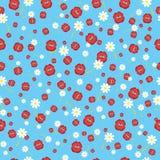 Падающ целует красный цвет и цветки, безшовную предпосылку также вектор иллюстрации притяжки corel Стоковые Фото