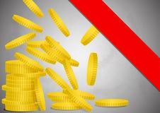Падая золотая монетка Стоковое Фото