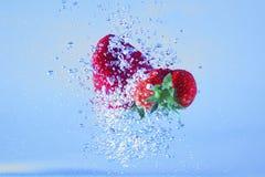 Падая клубники в воде Стоковая Фотография