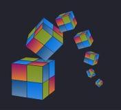 Падая покрашенные кубы с темной предпосылкой Иллюстрация штока