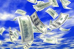падая деньги 3d Стоковая Фотография RF
