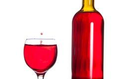 Падение вина в стекле Стоковое Изображение