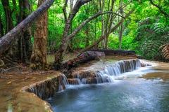 Падение воды в глубокий лес Таиланд стоковые изображения rf