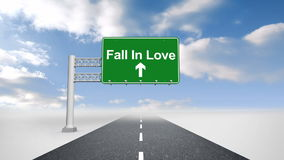 Падение в влюбленность подписывает сверх открытую дорогу иллюстрация вектора