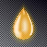 Падение масла изолированное на прозрачной предпосылке Реалистическое золото Стоковое фото RF