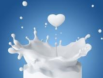 Падение молока в форме сердца бесплатная иллюстрация