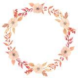 Падение рамки гирлянды венка осени акварели выходит лист ягоды цветков круга Стоковое фото RF