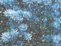 Падение снега в волшебство рождества леса зимы Стоковое Изображение RF