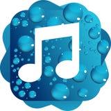 Падения воды на голубом значке музыки предпосылки Бесплатная Иллюстрация