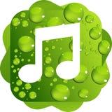 Падения воды на зеленом значке музыки предпосылки Иллюстрация вектора