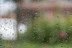 Падения дождя на стекле Стоковая Фотография RF