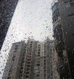 Падения дождя на стекле Стоковое Изображение RF