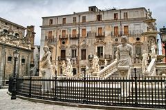 Палермо, Сицилия, Италия, старый городок, Фонтана Претория Стоковая Фотография RF