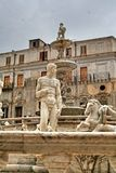 Палермо, Сицилия, Италия, Фонтана Претория, старый городок, Стоковая Фотография