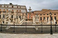 Палермо, Сицилия, Италия, Фонтана Претория, старый городок, Стоковые Фотографии RF