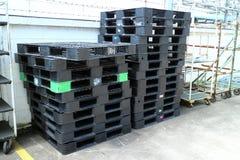 Паллет в пользе района фабрики для содержит материал и товары Стоковое Изображение RF