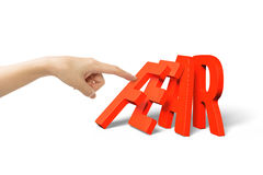 Палец женщины нажимая домино красный падать слова страха Стоковое Фото